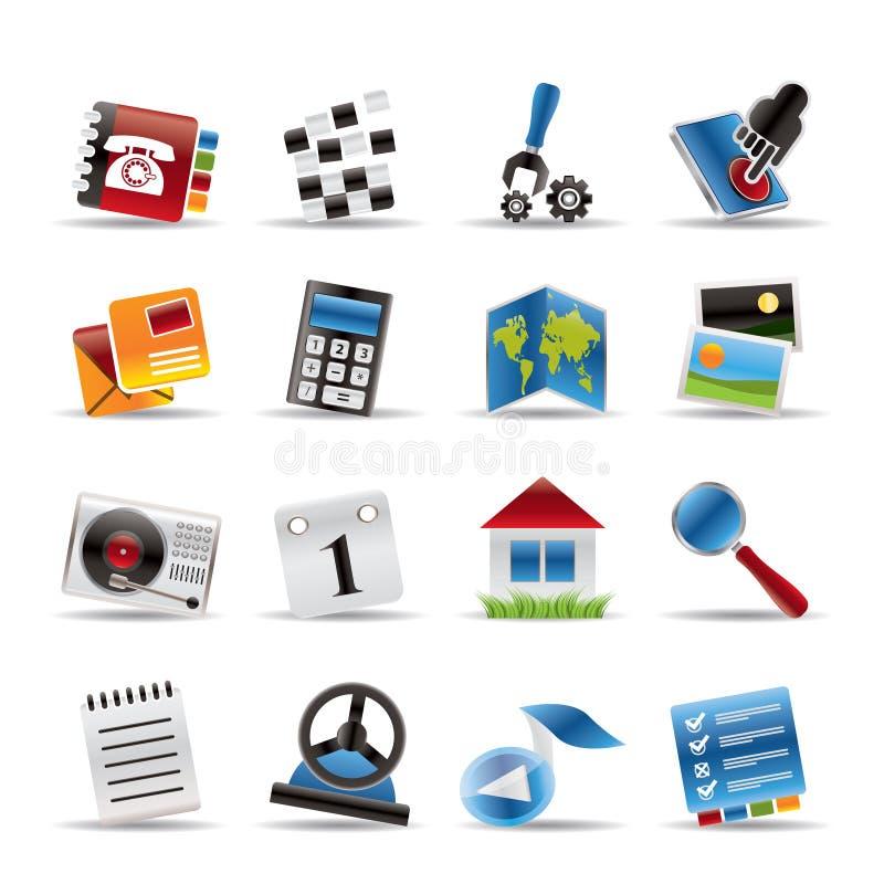 Ícones do telefone móvel e do computador ilustração royalty free