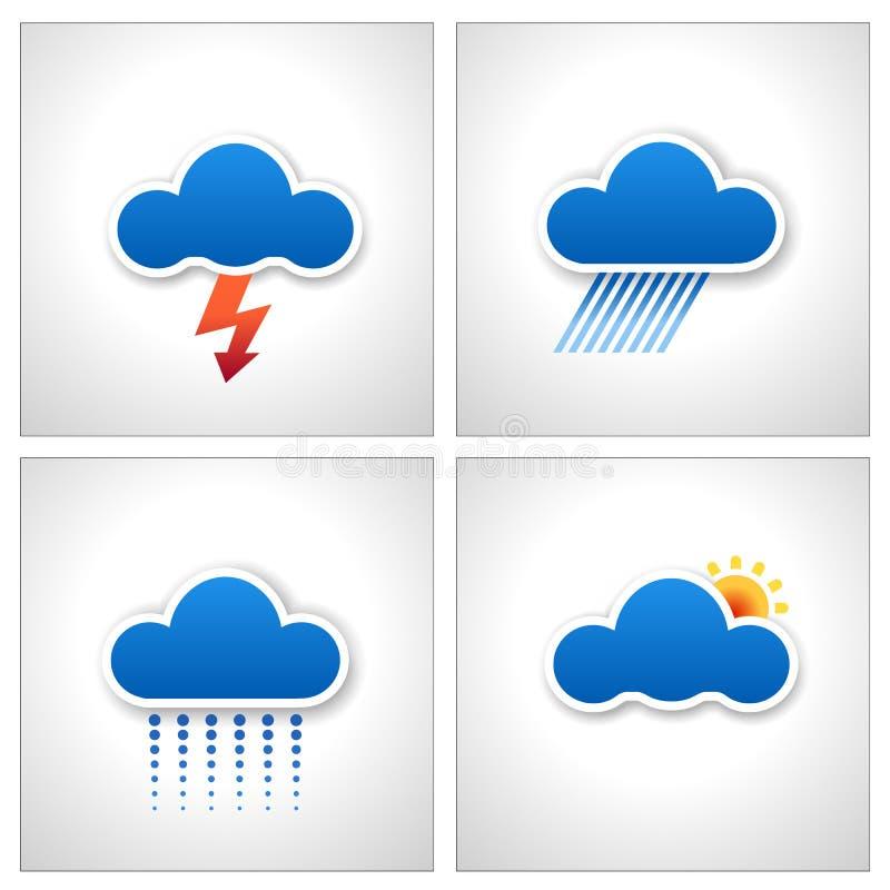 Ícones do tempo da nuvem do papel azul   ilustração royalty free