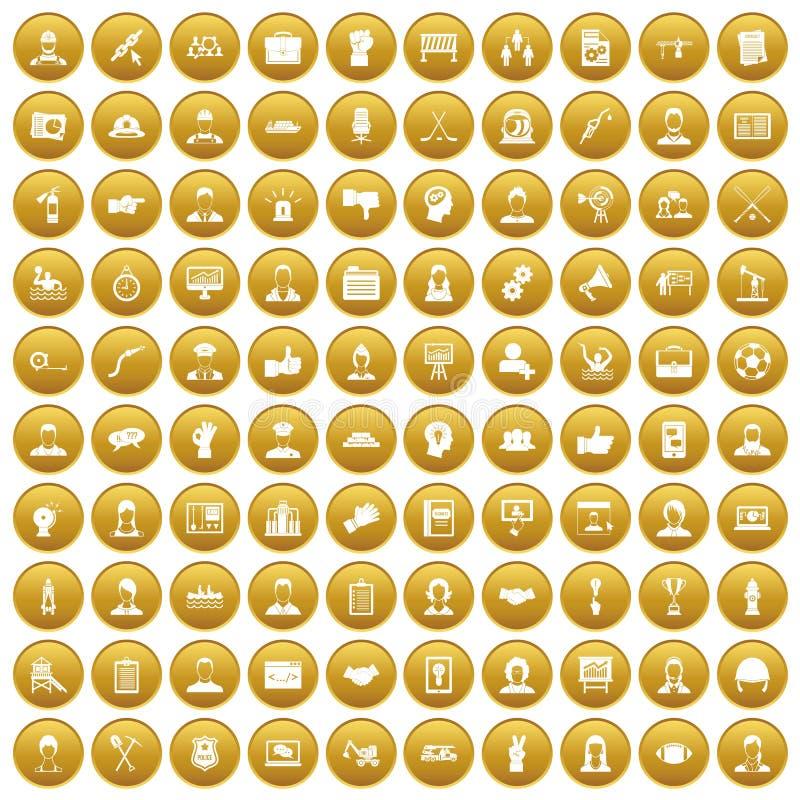 100 ícones do trabalho da equipe ajustaram o ouro ilustração do vetor