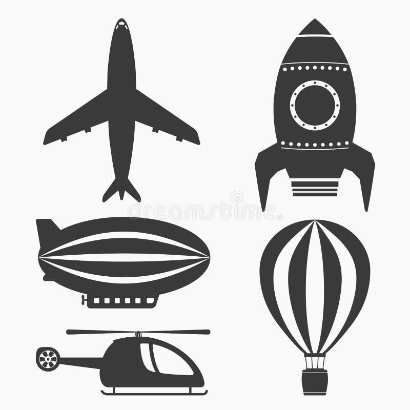 Ícones do transporte aéreo ilustração royalty free