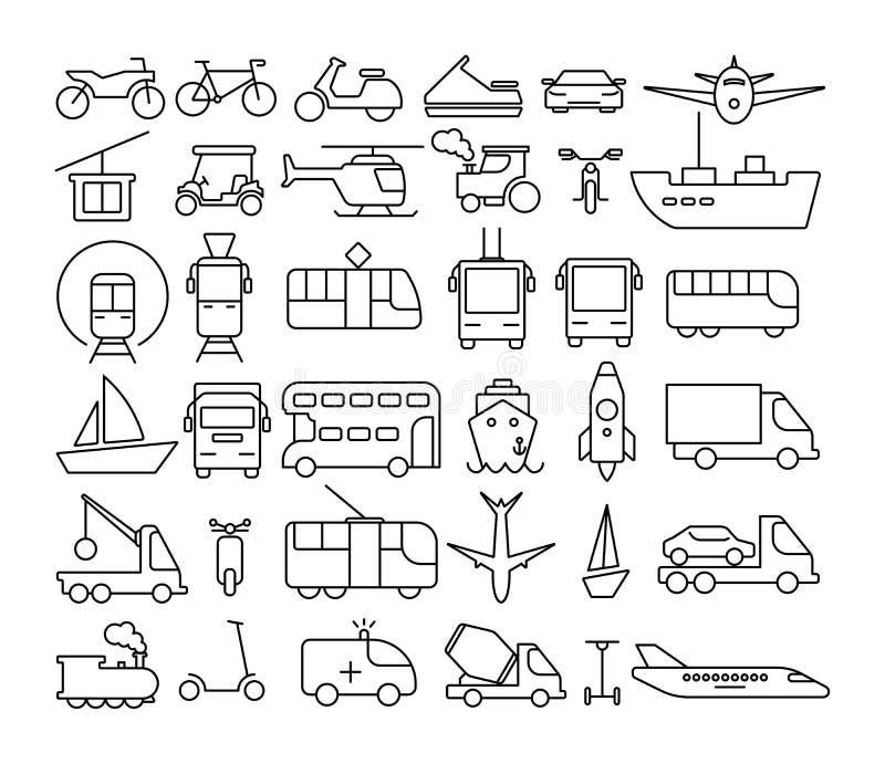 Ícones do transporte ajustados ilustração stock