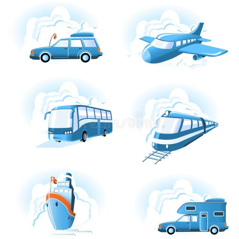 Ícones do transporte & do curso ilustração do vetor
