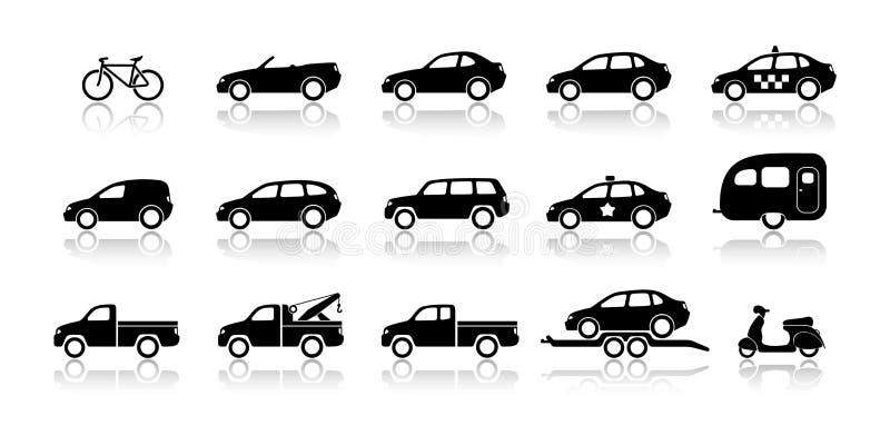 Ícones do transporte - bicicletas, carros & camionetes ilustração royalty free