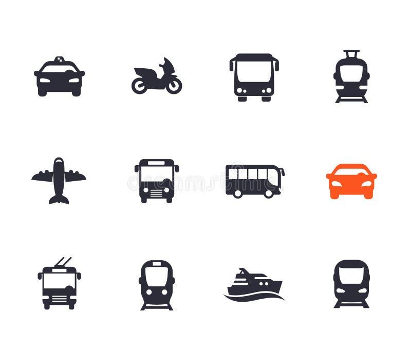 Ícones do transporte de passageiro ajustados ilustração do vetor