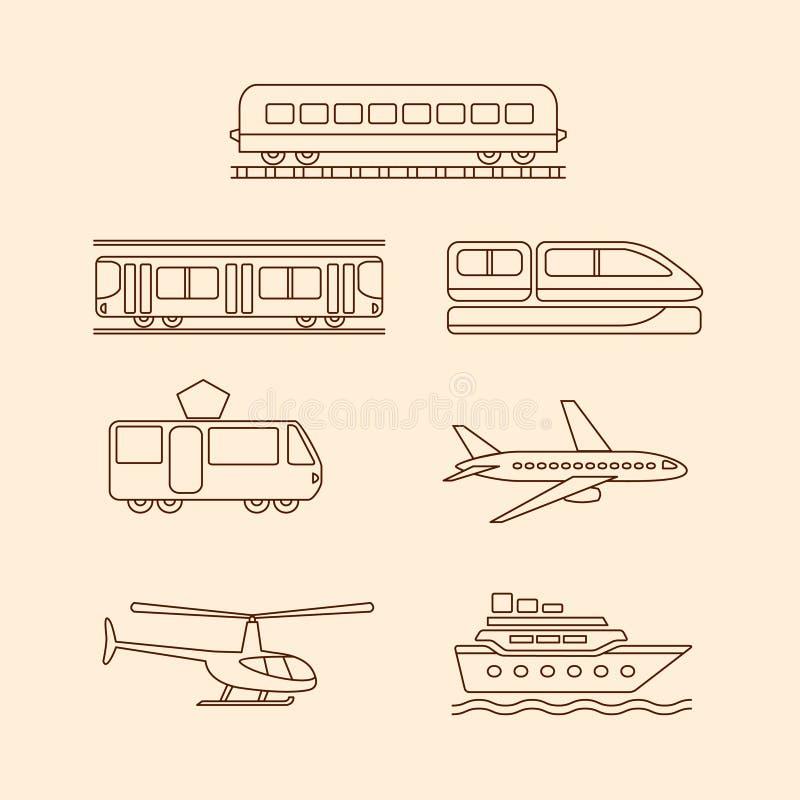 Ícones do transporte do bonde, metro, trem, ilustração royalty free
