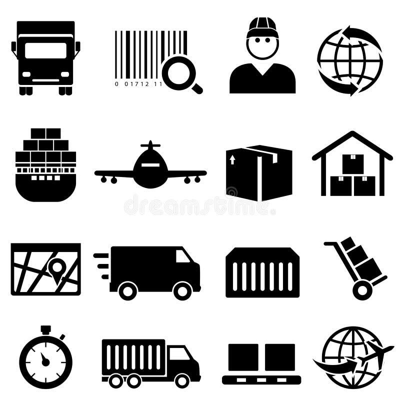 Ícones do transporte e da carga ilustração stock