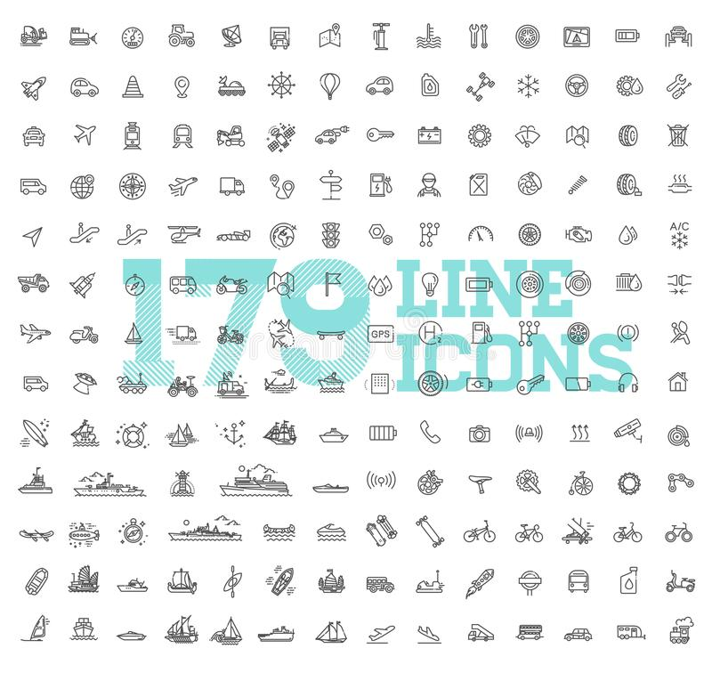 Ícones do transporte, linha fina projeto ilustração do vetor