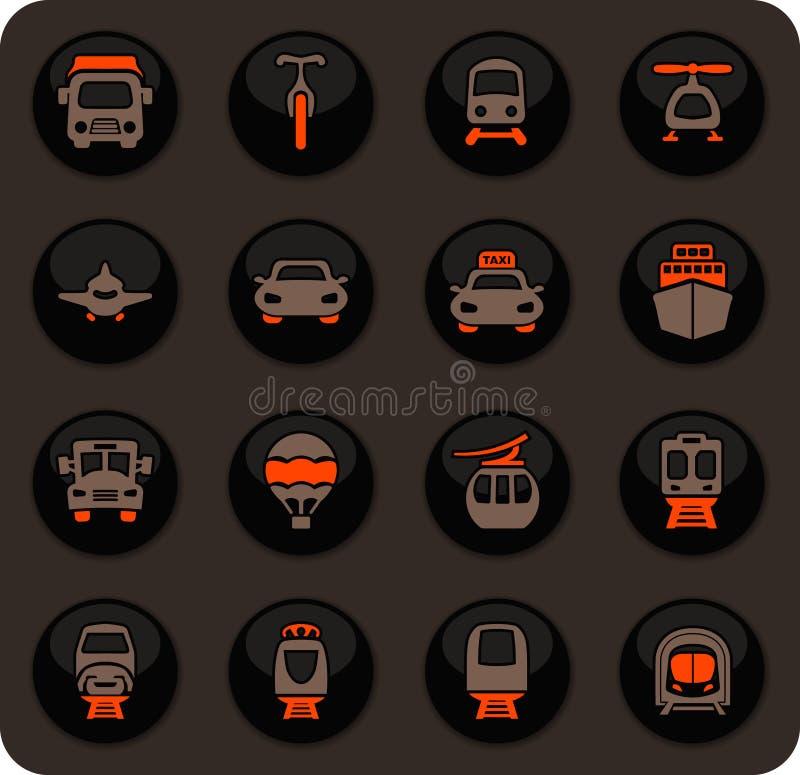 Ícones do transporte público ajustados ilustração stock