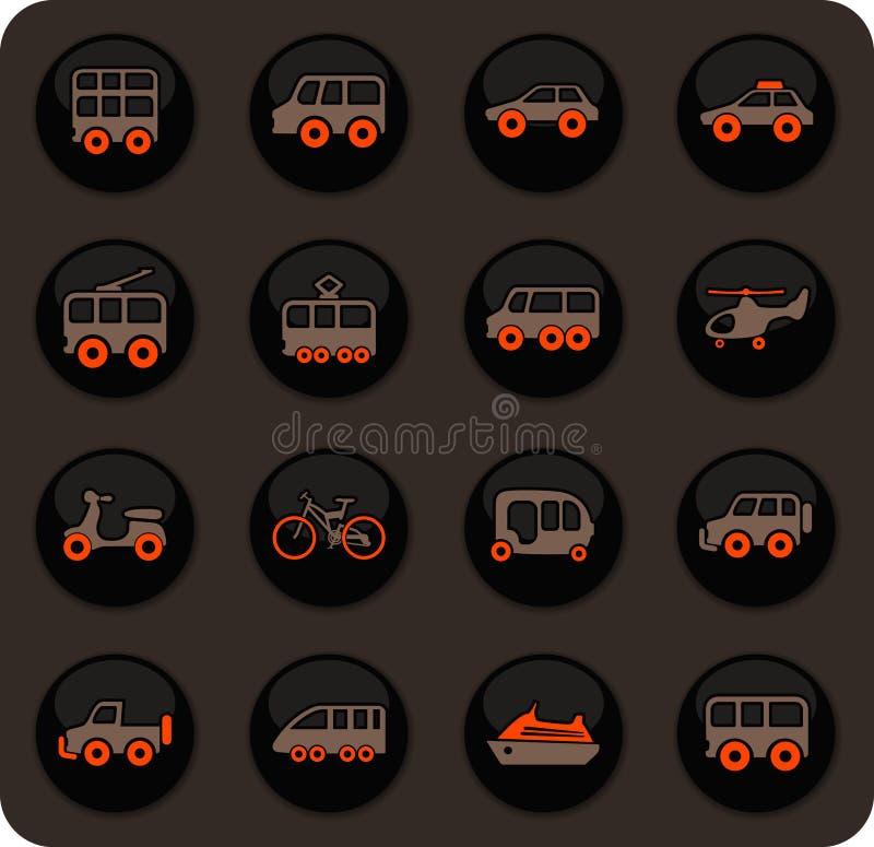 Ícones do transporte público ajustados ilustração royalty free