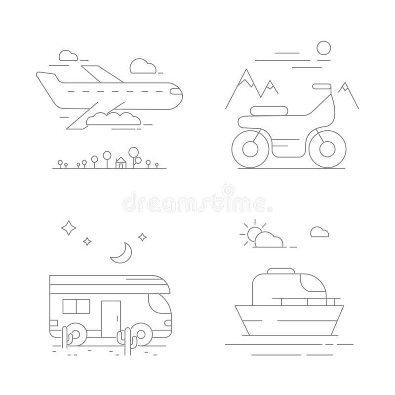 Ícones do transporte urbano Composições do vetor com transporte ilustração stock