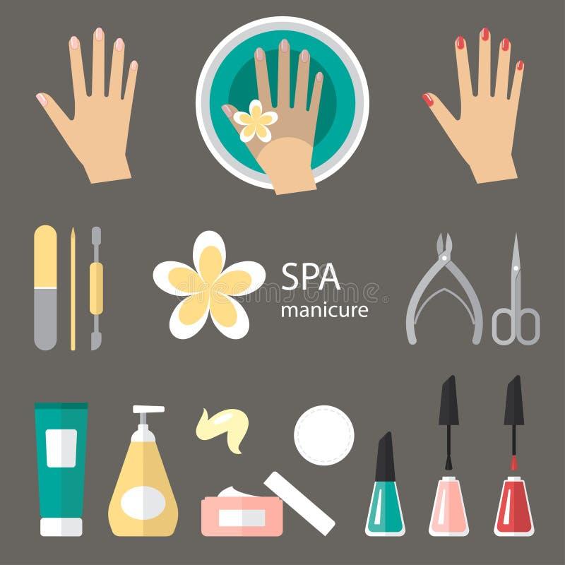 Ícones do tratamento de mãos ilustração stock