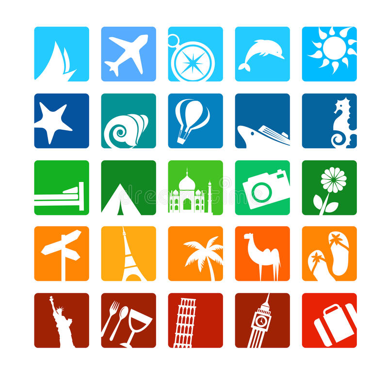 Ícones do turismo e das férias ilustração royalty free