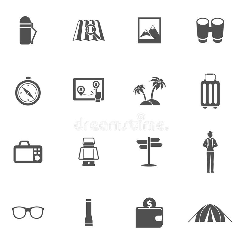 Ícones do turista ajustados ilustração stock