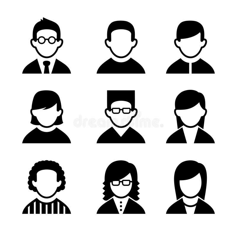 Ícones do usuário dos gerentes e dos programadores ajustados Vetor ilustração royalty free