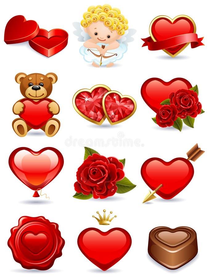 Ícones do Valentim ilustração stock