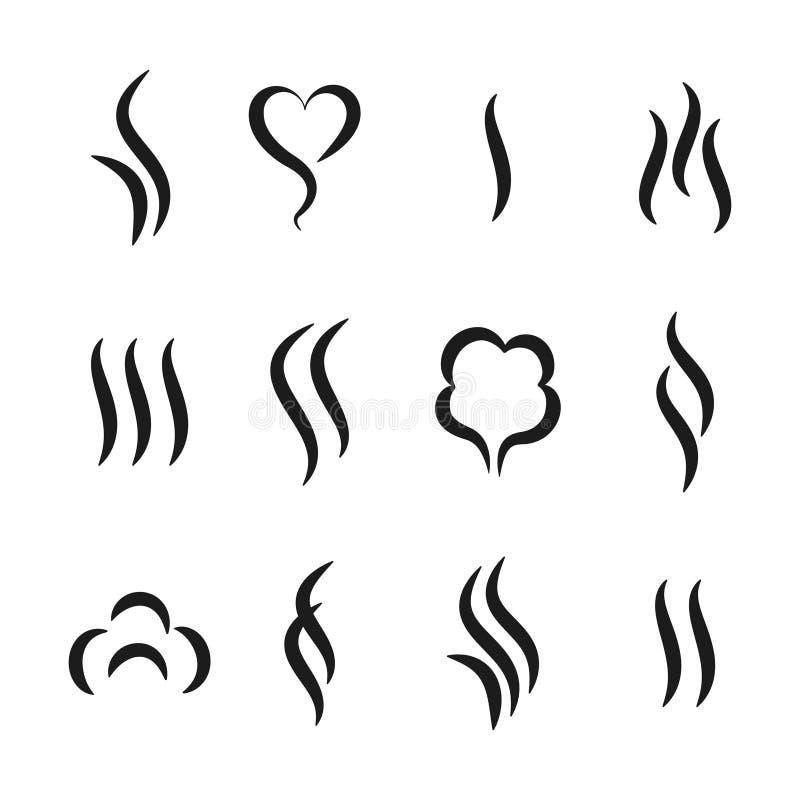 Ícones do vapor do aroma Vapor morno e cozimento de símbolos abstratos do cheiro, de água do aroma e de odor do óleo Cheiro do ch ilustração stock