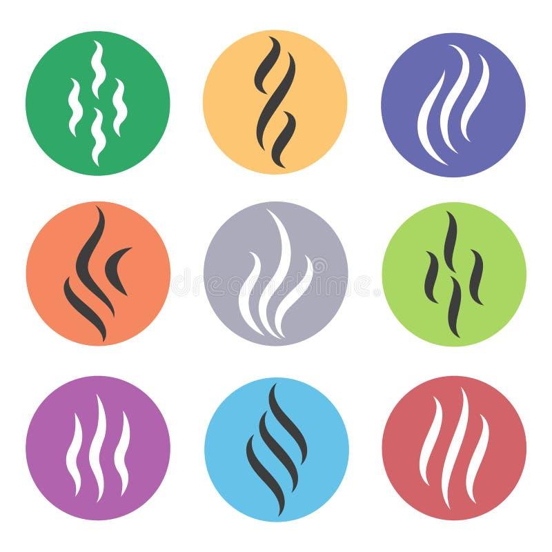 Ícones do vapor do calor ilustração stock