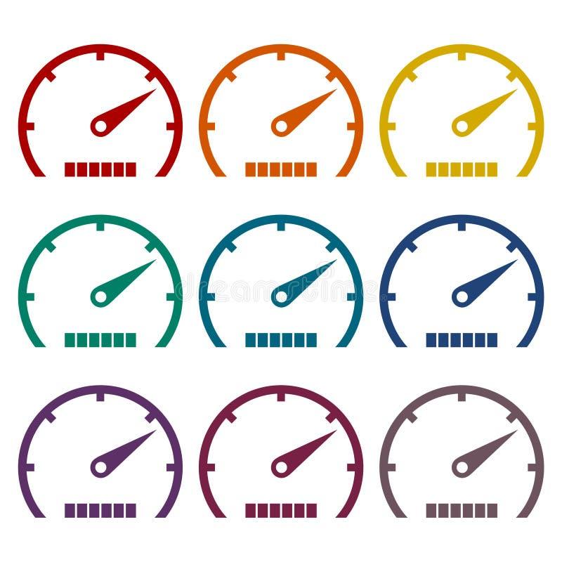 Ícones do velocímetro ajustados ilustração royalty free