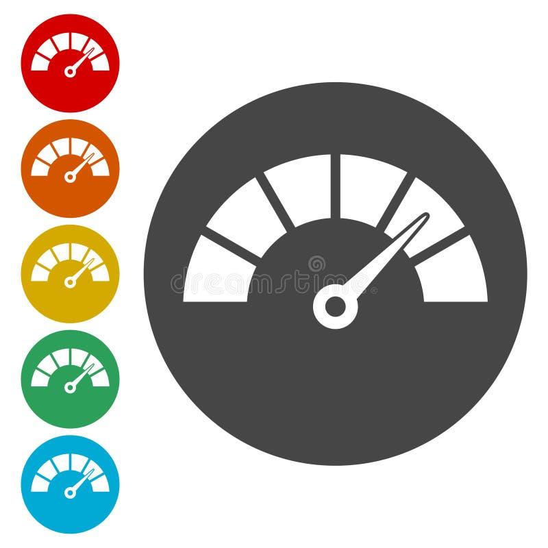 Ícones do velocímetro ajustados ilustração stock
