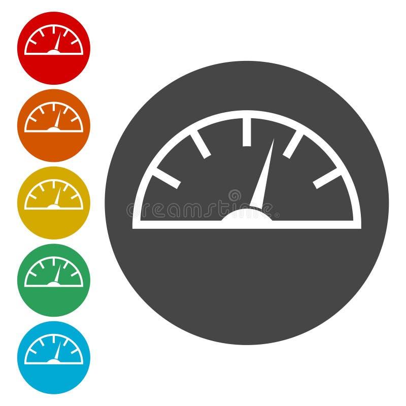 Ícones do velocímetro ajustados ilustração do vetor