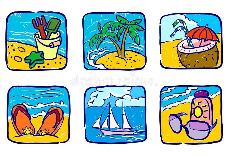 Ícones do verão ilustração stock