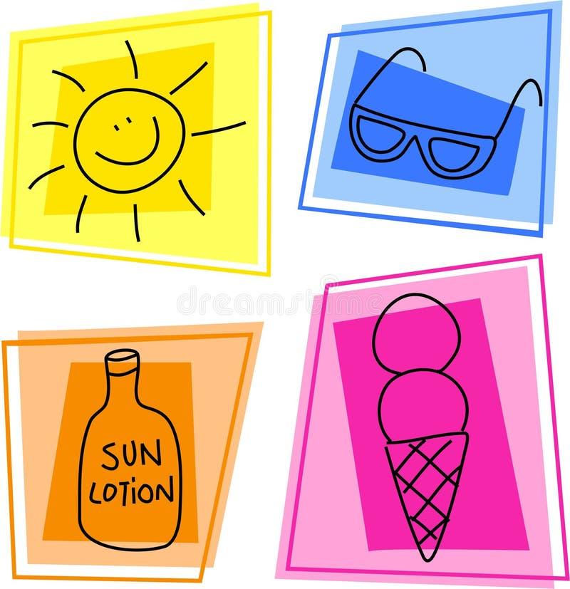 Ícones do verão ilustração royalty free