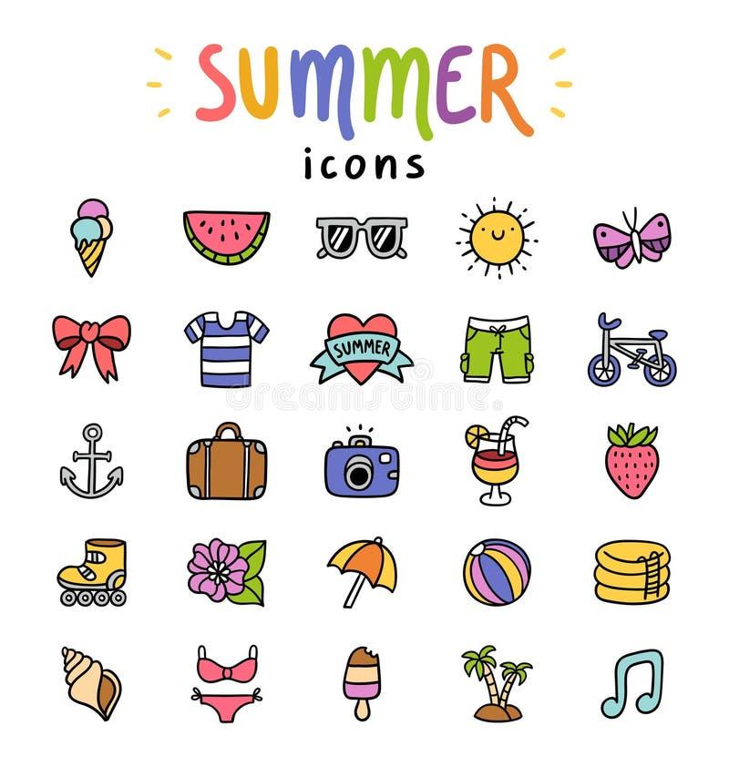 Ícones do verão ajustados ilustração do vetor