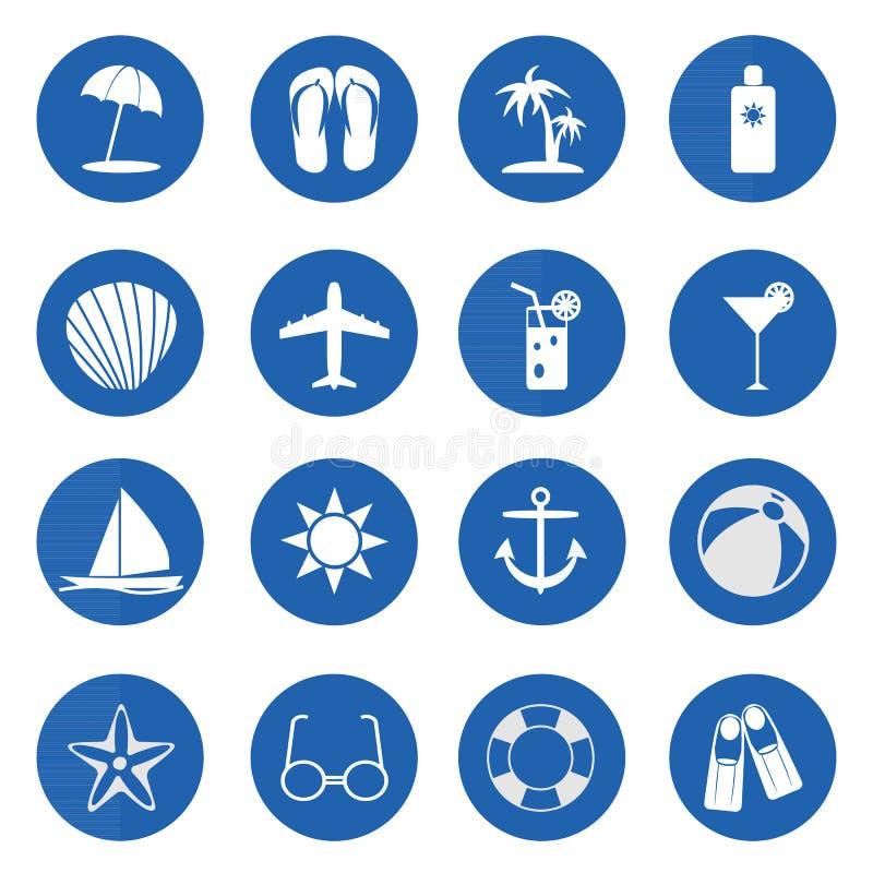 Ícones do verão e da praia sobre o azul ilustração stock