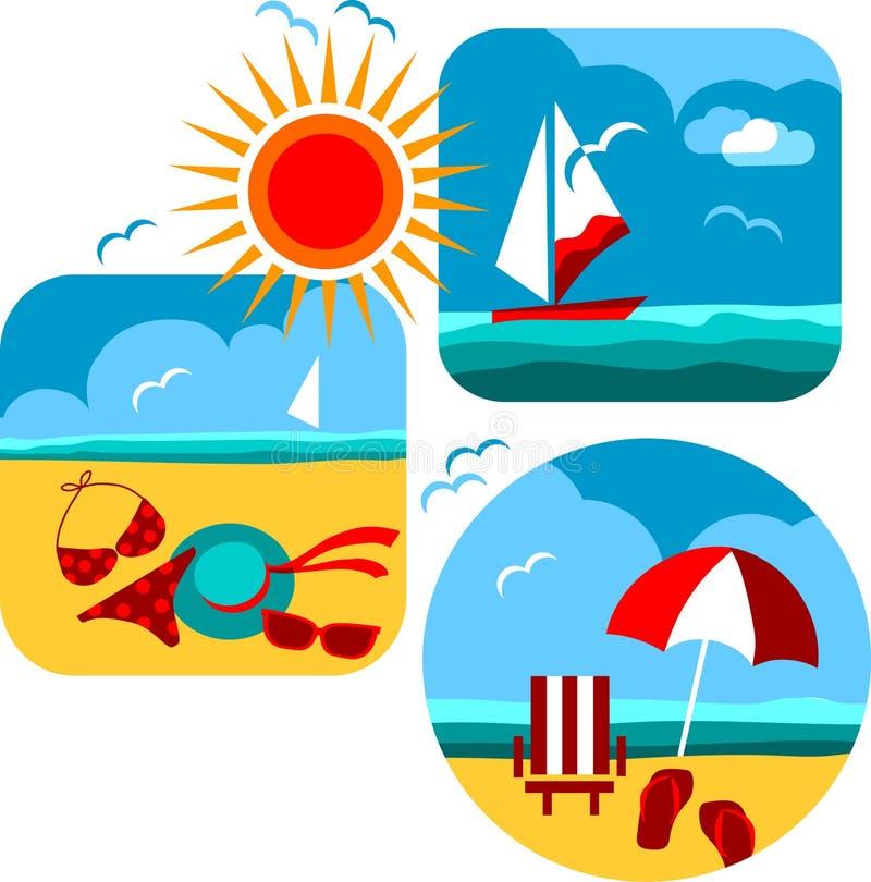 Ícones do verão e do curso da praia e do mar ilustração royalty free