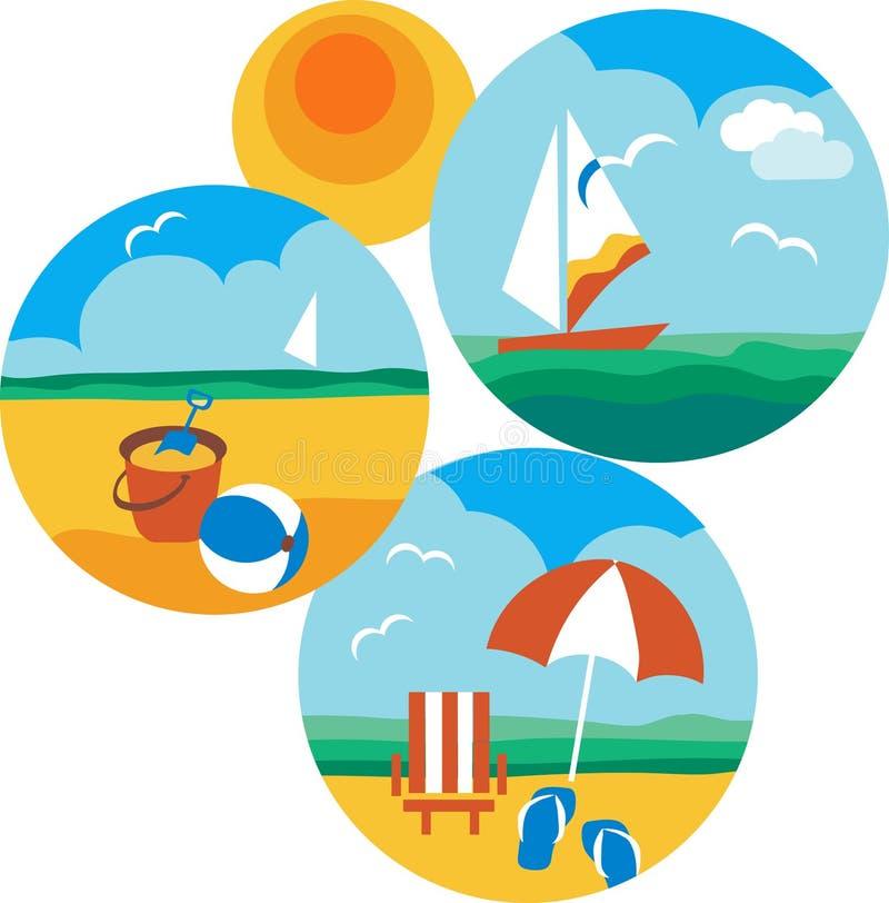 Ícones do verão e do curso da praia e do mar ilustração do vetor