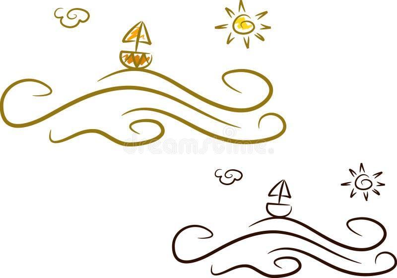 Ícones do verão (i): Oceano ilustração royalty free