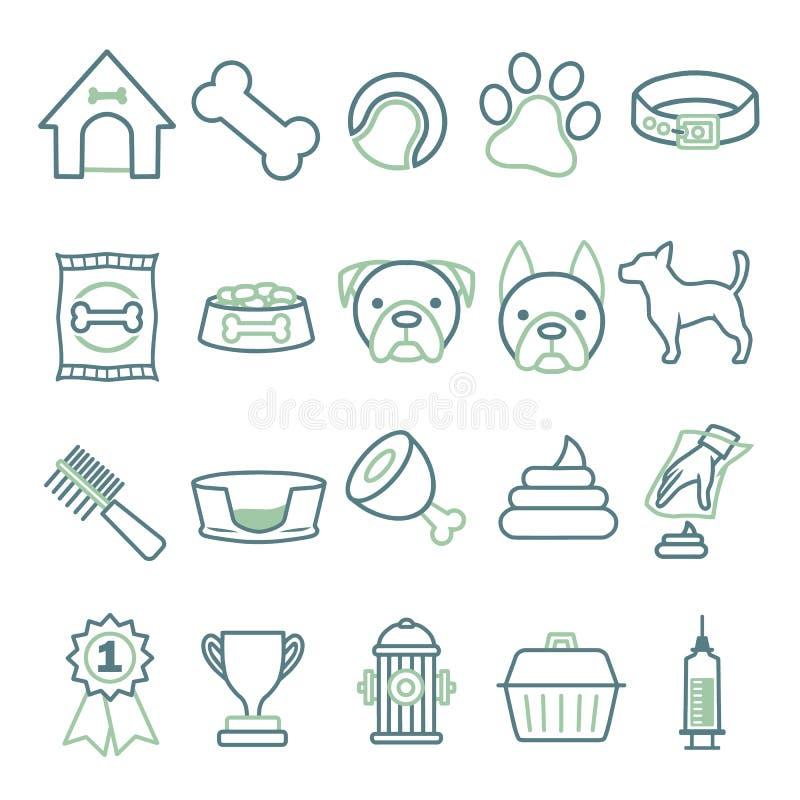 Ícones do vetor ajustados criando o infographics relativo aos cães, como o colar, o alimento, a bacia, o brinquedo, o pente ou a  ilustração do vetor
