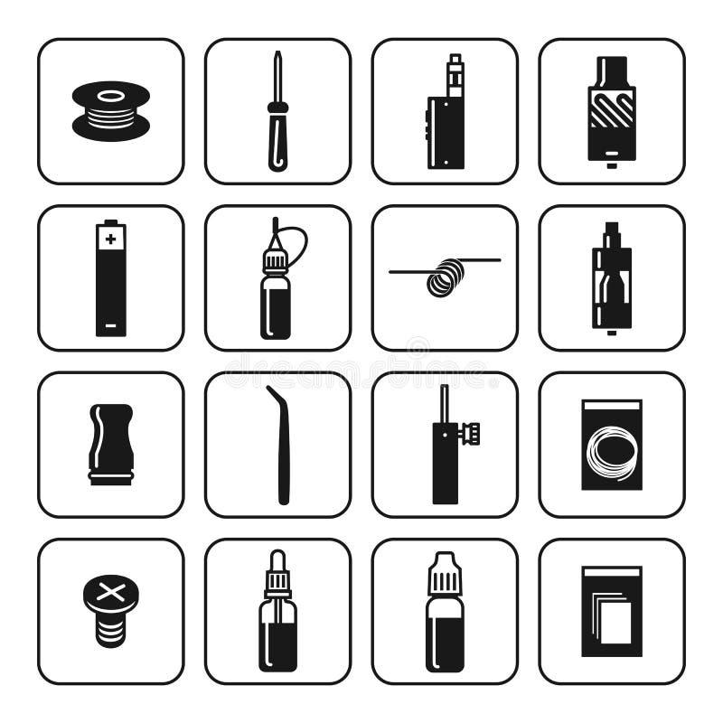 Ícones do vetor ajustados do atomizador e dos acessórios ilustração do vetor