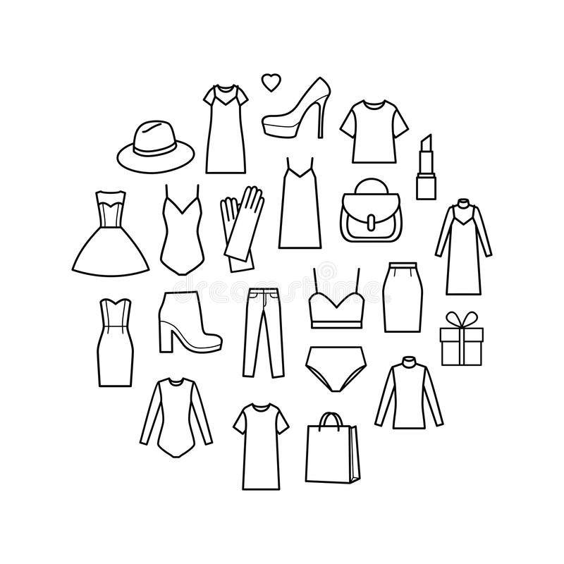 Ícones do vetor ajustados do ladieswear da forma ilustração do vetor