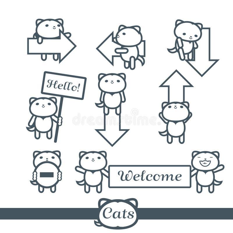 Grupo de símbolos do vetor dos ícones 9 dos gatos: setas ilustração do vetor