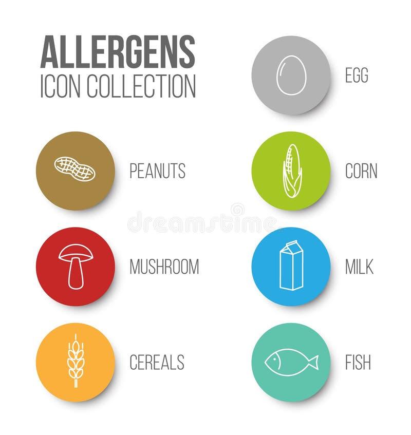 Ícones do vetor ajustados para alérgenos ilustração do vetor