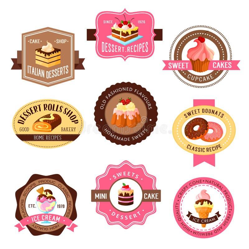 Ícones do vetor ajustados para bolos da sobremesa da pastelaria ilustração royalty free