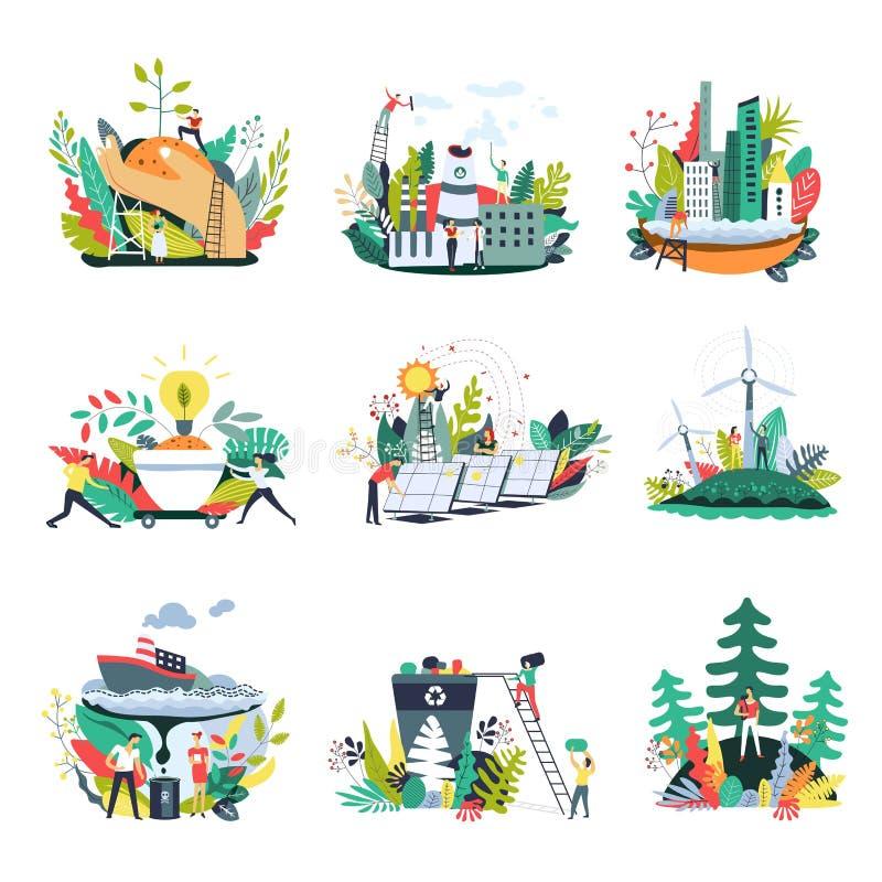 Ícones do vetor do ambiente da natureza da ecologia e das economias ilustração do vetor