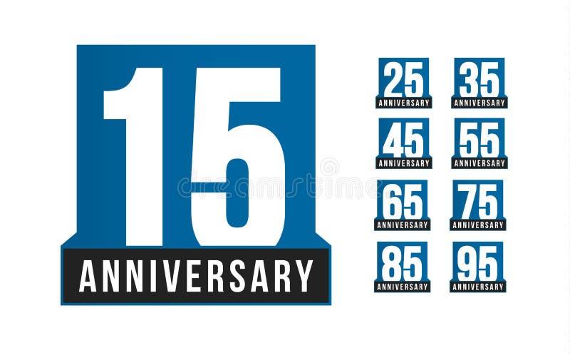 Ícones do vetor do aniversário ajustados Molde do logotipo do aniversário Elemento do desig do cartão Emblema simples da década d ilustração royalty free