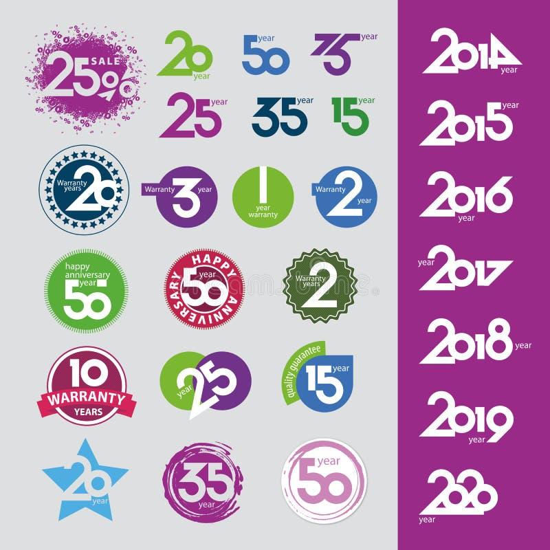 Ícones do vetor com aniversários das datas dos números ilustração do vetor