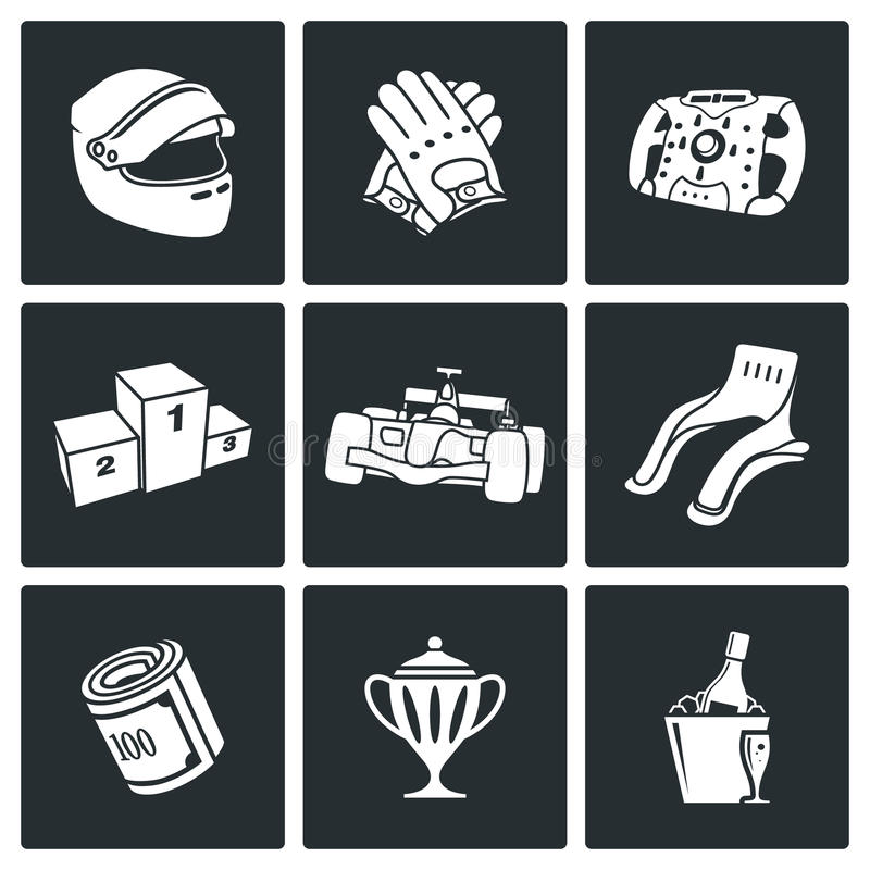 Ícones do vetor da auto competência ajustados ilustração stock