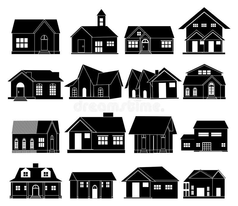 Ícones do vetor da casa ajustados ilustração stock
