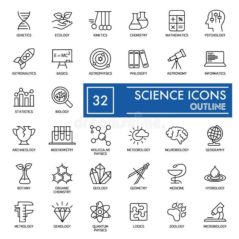 Ícones do vetor da ciência ajustados Ícones da educação e do conhecimento isolados no branco Projeto fino liso do esboço Eps 10 ilustração do vetor