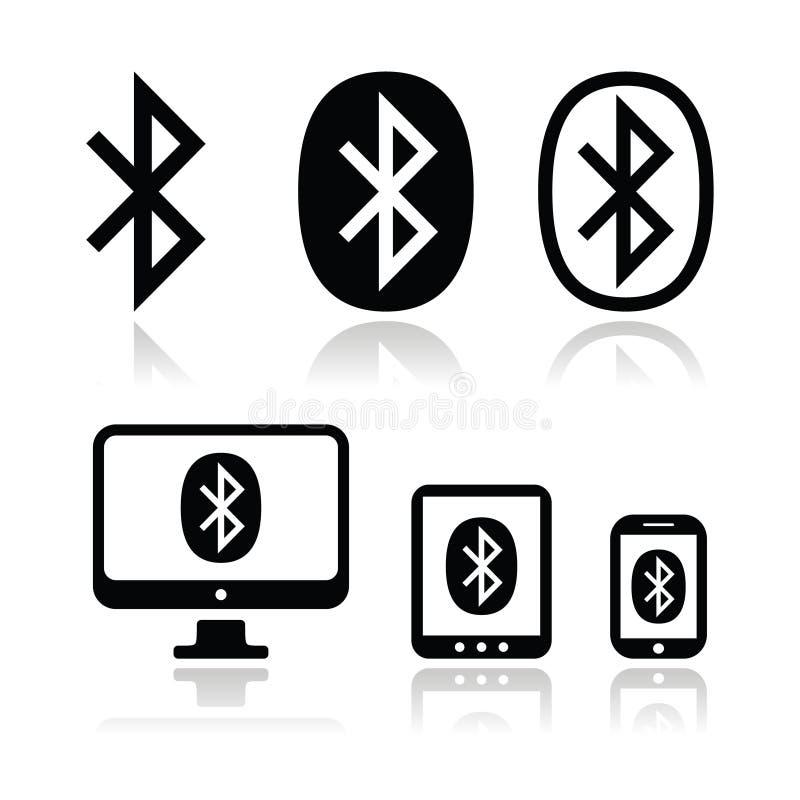 Ícones do vetor da conexão de Bluetooth ajustados ilustração stock