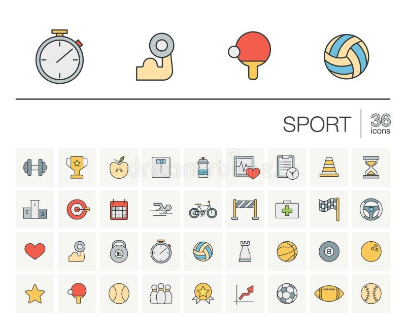 Ícones do vetor da cor do esporte e da aptidão ilustração stock