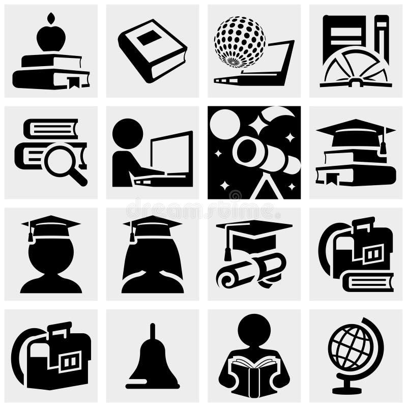 Ícones do vetor da educação ajustados no cinza. ilustração royalty free