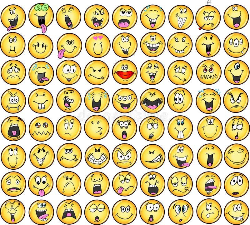 Ícones do vetor da emoção dos Emoticons ilustração do vetor