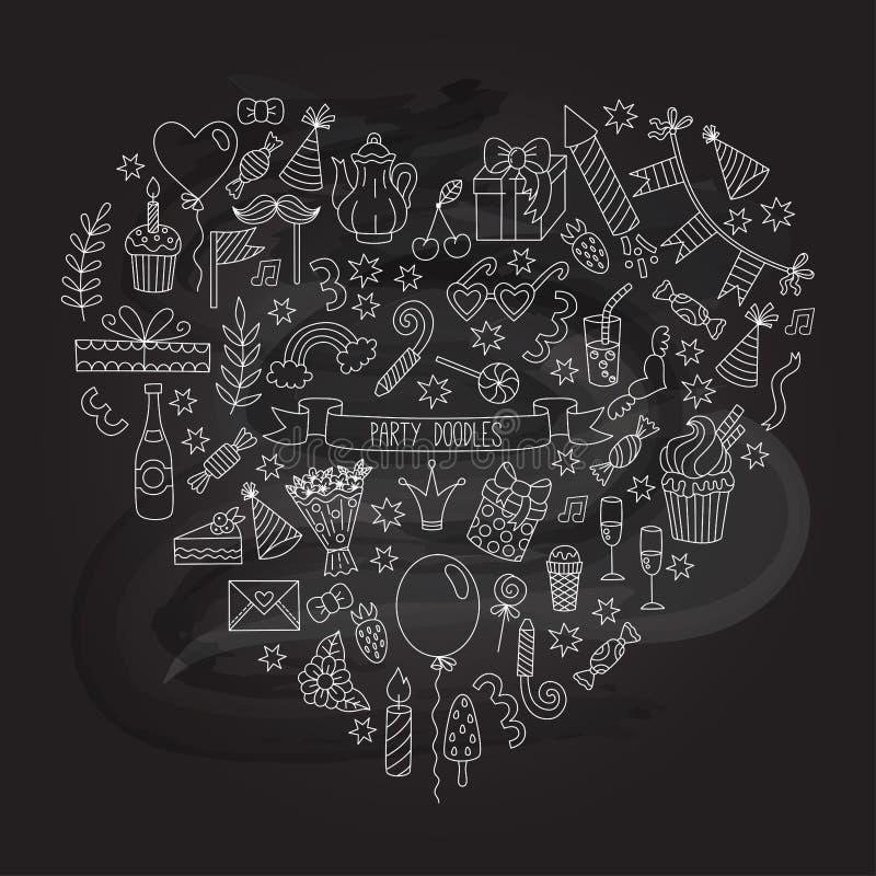 Ícones do vetor da garatuja do evento do feriado da festa de anos ilustração do vetor