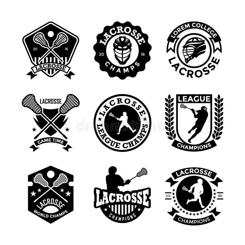 Ícones 22 do vetor da lacrosse ilustração stock