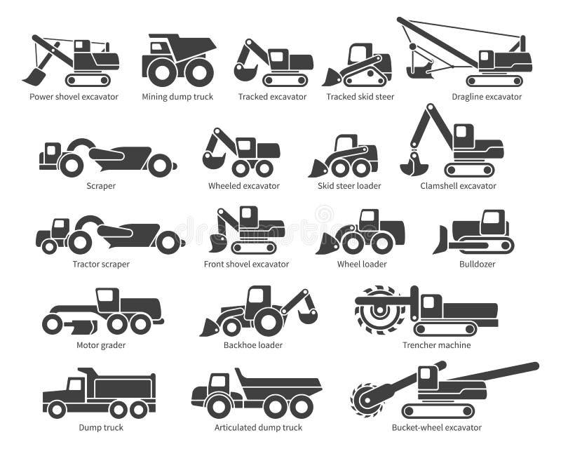 Ícones do vetor da maquinaria de construção ajustados ilustração royalty free